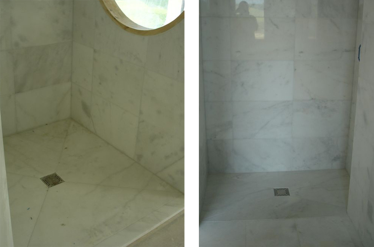 white marble built in showers, wet rooms, walk in showers