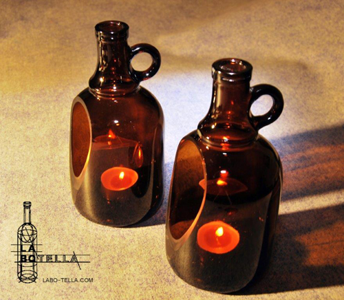 glass bottle candle holder portavelas botella