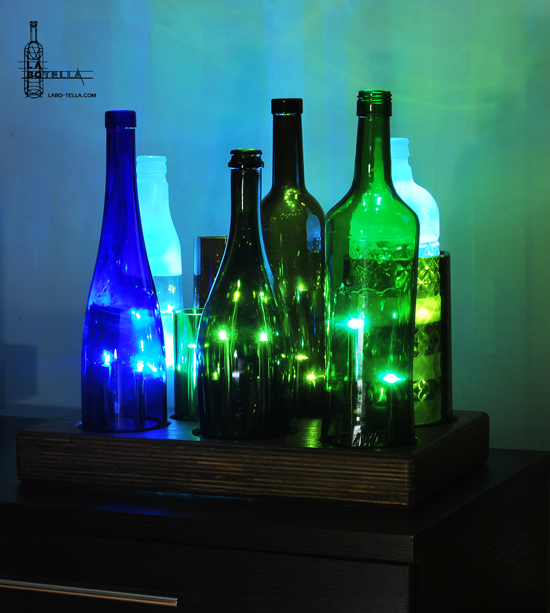 lampara botellas vidrio led